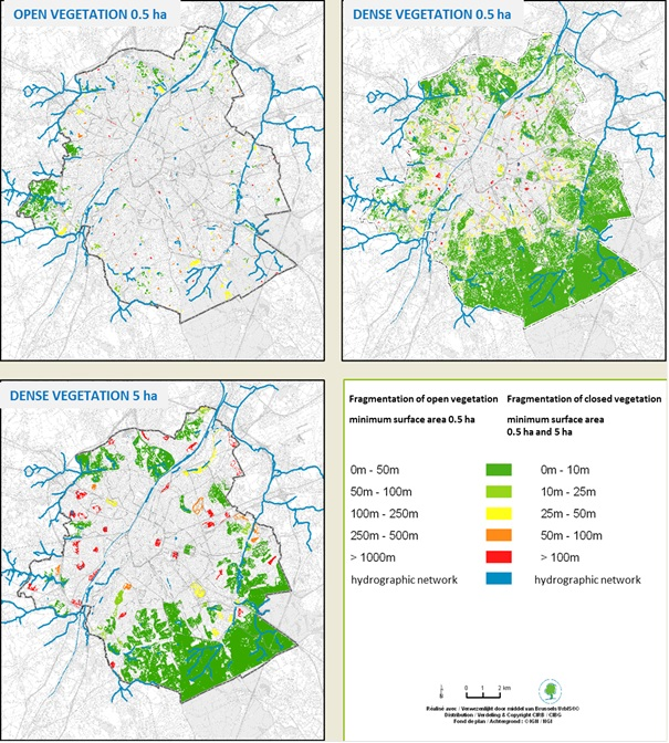Map of fragmentation of green spaces