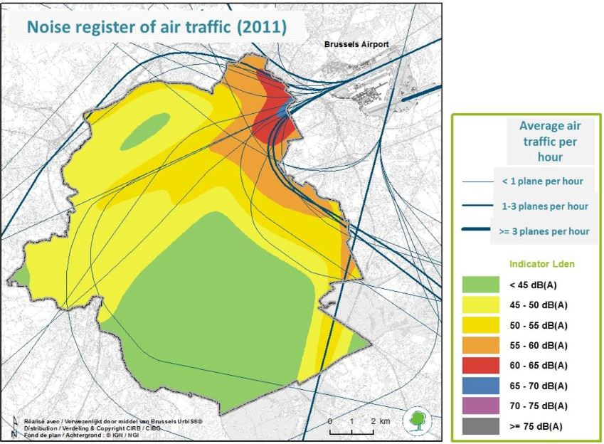 Air traffic noise register of the Brussels Capital Region – Indicator Lden
