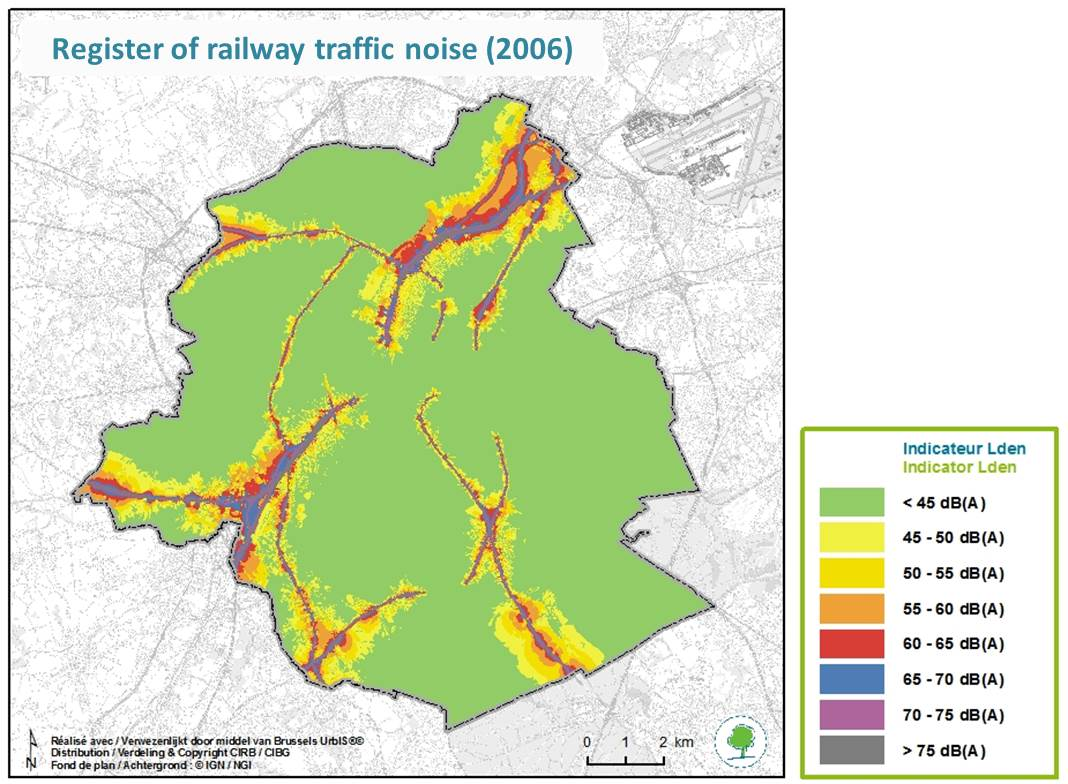 Severity of noise nuisance from rail trafficNoise register of rail traffic in the Brussels Capital Region – Indicator Lden