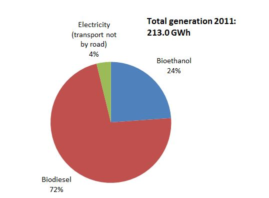 Renewable energy used for transport in the Brussels Region: total generation and generation circuits (2011)